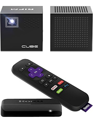 RIF6 CUBE Projector and Speaker + FREE ROKU Express - 120 Inch Display Portable Home Cinema - 2 Inch Mini Projector 20,000 Hour LED for HDMI Devices - Includes Mini Tripod
