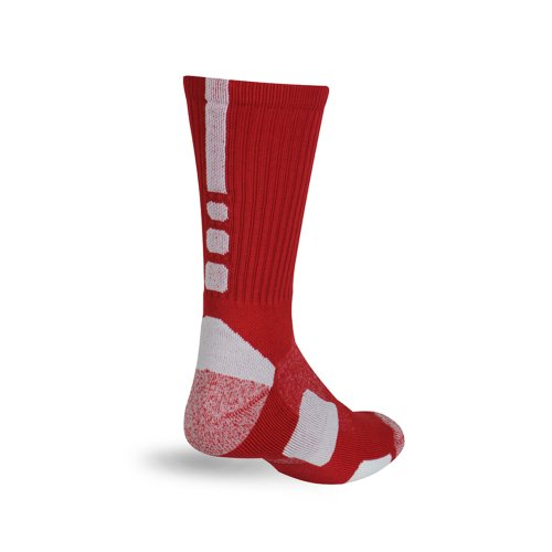 (Pro Feet Shooter Multi-Sport Performance Crew Socks, Red/White, Medium)