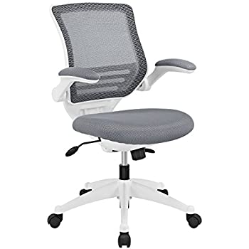 Modway Edge Mesh Back And Gray Mesh Seat Office Chair With White Base And  Flip