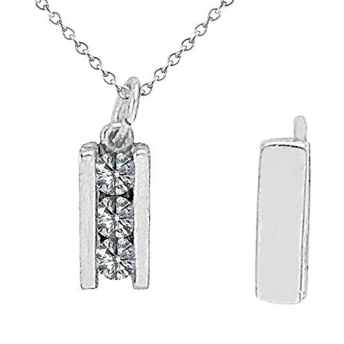 0.25 Carat G-H Diamond 3 Three Stone Channel Slider Pendant Necklace With 18