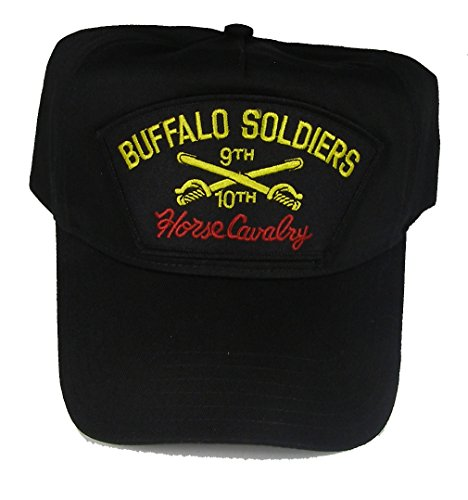 BUFFALO SOLDIERS HORSE CAVALRY 9TH and 10TH CAVALRY VETERAN HAT - BLACK - Veteran Owned - Buffalo Cap Soldiers