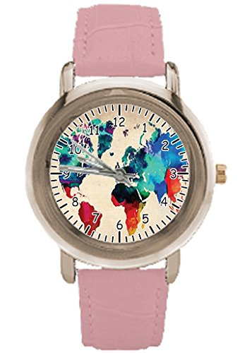 World Watercolor Map Custom Watches For Women With Pink Leather Strap Gold Face