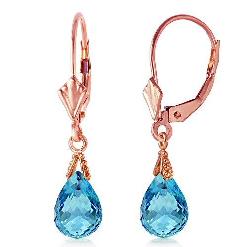 4.5 CTW 14K Solid Rose Gold Leverback Earrings Briolette Blue Topaz (Gemstone White Earrings Gold Briolette)