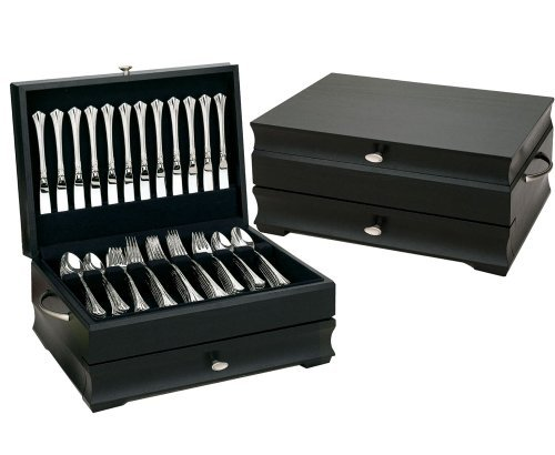 Black Manhattan Silverware Chest with Black Lining by Reed & Barton