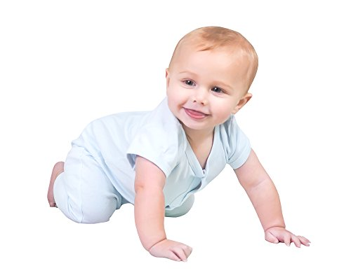Price comparison product image Owlivia Baby Organic Cotton Short Sleeve Growsuit (6-12 Months,  Blue)
