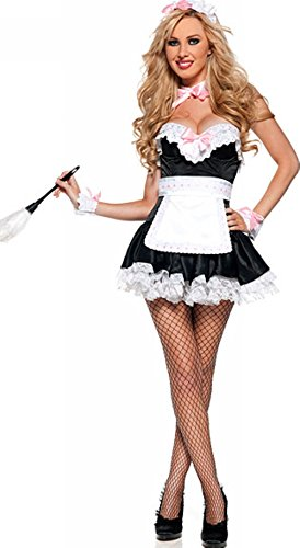 [French Kiss Maid Sexy Costume for Women] (French Kiss Costume)