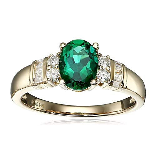 (14k Yellow Gold, Created Emerald, and Diamond (1/6 cttw, H-I Color, I2-I3 Clarity) Ring, Size 7)