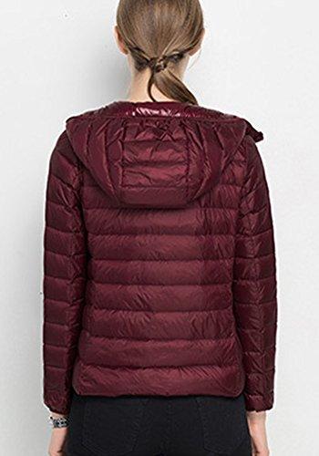 Veste A Capuche Femme - Doudoune Sport - Blouson d'hiver Chaude Courte Vin Rouge
