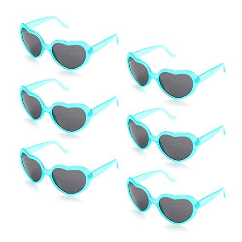 (6 Neon Colors Heart Shape Party Favors Sunglasses, Multi Packs (6-Pack Clear Blue))