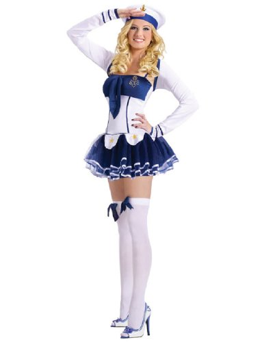 Military Costumes For Adults (FunWorld Women's High Seas Hottie Adult Costume, Blue/White, Small/Medium)