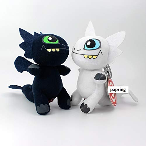 PAPEO Toothless Toy 6 inch Hot Plush Keychain Action Figure Big Keyring Toys Large Pendant Model Christmas Halloween Birthday Gift Lovely Collection Collectible Cartoon Movie for Kids Adults (B)