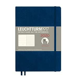 LEUCHTTURM1917 359959 Agenda semana vista & Libreta tapas blandas Medium (A5) 2020, azul marino, en inglés