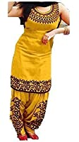 ETHNIC VILA Women's Cotton Embroidered Semi Stitched Patiala Salwar Suit Dress Material Free Size (Yellow)