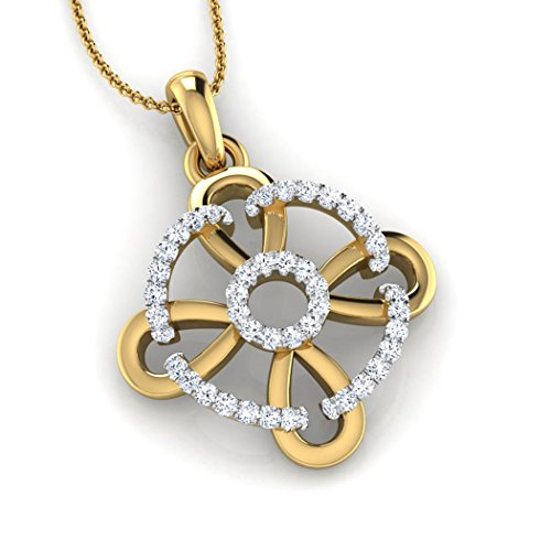 18K Or Blanc 0,19CT TW Round-cut-diamond (IJ | SI) Pendentif