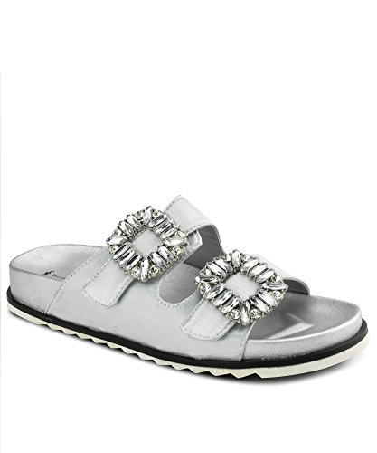 RF ROOM OF FASHION Jeweled Double Band Platform Silk Slides Sandals | Velcro Strap for Wide Width Adjustment Silver (9) ()