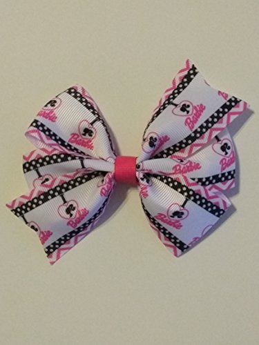 Barbie inspired hair bow, pink and black hair