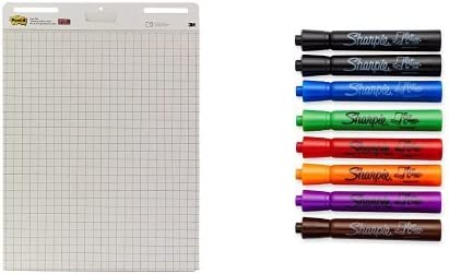 25 x 30-Inches White 8-Count Bundle Post-it Easel Pad Assorted Colors 4-Pads//Pack and Sharpie Flip Chart Markers 30-Sheets//Pad Bullet Tip