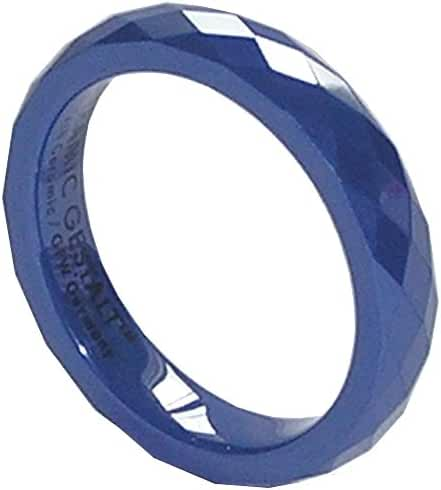 Blue Ceramic Ring by CERAMIC GESTALT® - 4mm Width. Faceted Design. (Avail. Sizes 5 to 14).