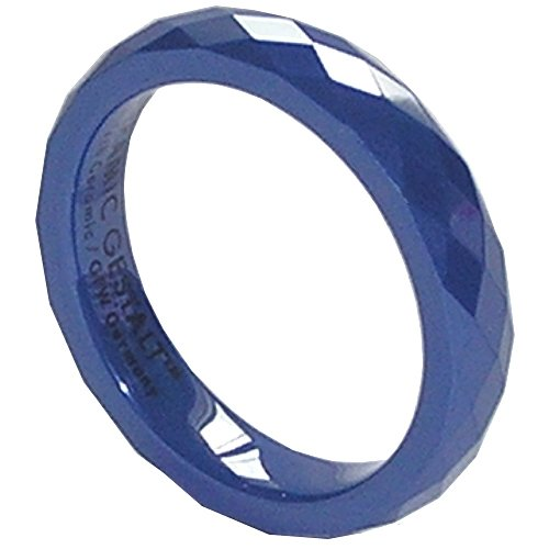 Blue Ceramic Ring by CERAMIC GESTALT - 4mm Width. Faceted Design. (Avail. Sizes 5 to 14) Size 7.5 - RB4F75