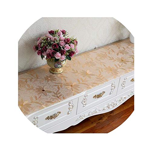 (God of Fortune TV Cabinet tablecloths Soft Glass Bedside Counter pad Shoe Cabinet Coffee Table mat PVC Board Waterproof Nightstand Table Cover,Gold Flower,40x40cm)