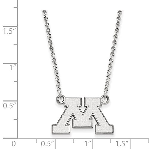 Jewelry Stores Network Minnesota Golden Gophers School Letter Logo Pendant Necklace in Sterling Silver S - (12 mm x 20 mm) ()