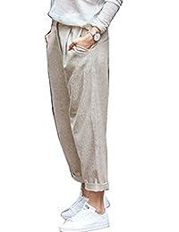 yulinge Womens Pants Linen High Waist Cotton Casual Summer Plus Size Pants