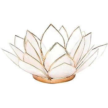 FindSomethingDifferent Lotus Tea Candle Light Holder Capiz Shell - Natural