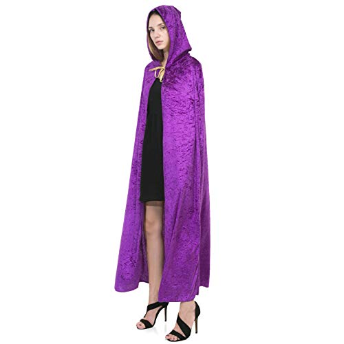 Halloween Costumes With Purple (Spooktacular Creations Hooded Velvet Cloak Halloween Women Witch Cape Costume Accessory)