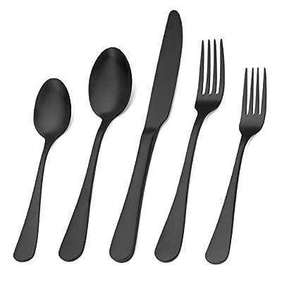 Silverware Set,SHARECOOK 20-Piece Stainless Steel Flatware Set with Round Edge,Kitchen Utensil Set Service for 4,Dishwasher Safe