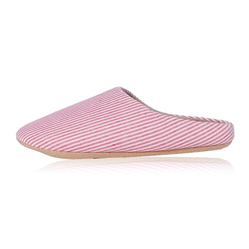 Buganda Classic Soft Stripe House Slip-Resistant Suede Sole Slippers Washable Slip On Unisex Indoor Slippers Pink KGY3M0
