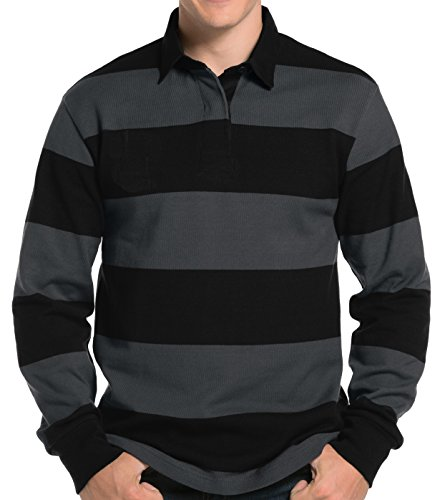 (Mens Long Sleeve Rugby Polo Shirt, Large Black/Graphite Grey)