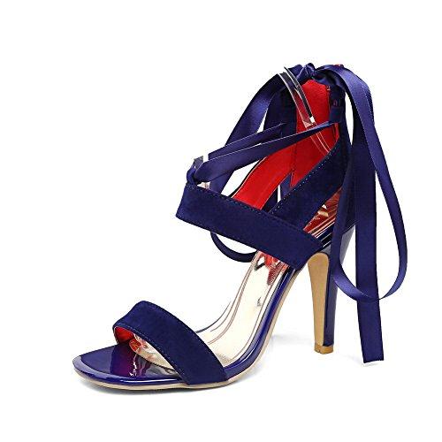 BalaMasa Womens Sandals Fabric Fashion High-Heel Urethane Sandals ASL04401 Blue