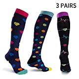 Compression Socks Women Men(3Pairs S/M) Nurse Nursing Graduated All Day Comfortable 15-21 mmHg Pregnancy Medical Knee High Support Stocking for Travel Airplane Sport Varicose Veins