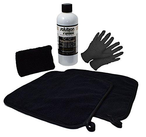 Solution Finish FULL INSTALLATION KIT: 12 oz Black Plastic Trim Restorer SUPER SIZE 12 oz + 2 Microfiber Towels + Applicator Sponge + Gloves