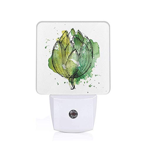 - Seuriamin Artichoke Abstract Style Cardunculus Drawn by Hand Harvest Vivid Color Decorative Hunter Green and Lime Green Dusk to Dawn Sensor of Stairways Energy Efficient Night Light