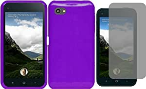 For HTC First Facebook Solid TPU Cover Case Dark Purple + LCD Screen Protector