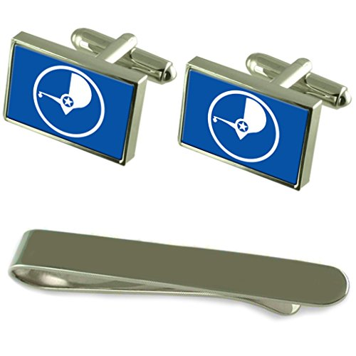 Yap Flag Silver Cufflinks Tie Clip Engraved Gift Set by Select Gifts