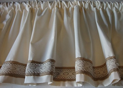 Valance Ivory Off White With Burlap Lace Trim Custom Made Topper Window  Treatment