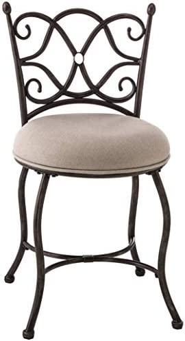 Hillsdale Furniutre Brody vanity stool, Gray with Rubbed Black