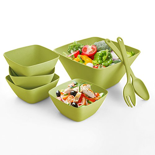 Square Bowl Green (Clever Home Bamboo Fiber and Melamine Dinnerware, Beverage and Serving Bowl Sets (Green Square Salad Set))