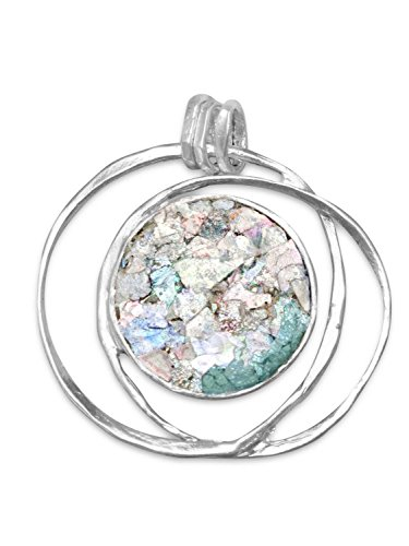 Roman Glass Israel - Ancient Roman Glass Hoop Pendant Necklace Textured Sterling Silver, Pendant Only