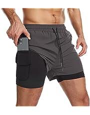 Danfiki Męskie szorty do biegania męskie szorty trening z kieszenią na telefon 2 w 1 szorty treningowe na siłownię lekkie szybkoschnące