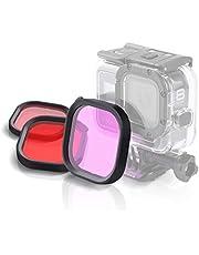 JIXIAO Los Kits de filtros Boutique Accesorios Rojo Rosa 3 Cuadrado púrpura Color de la Carcasa de Buceo de Lentes for GoPro HERO8 Negro Cubierta Impermeable