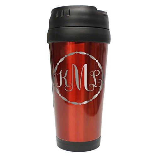 Custom Personalized Travel Coffee 16 oz Tumbler - Engraved and Monogrammed for Free - Fancy Monogram Monogram Travel Mugs