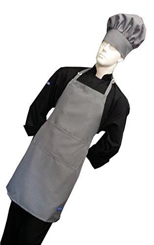 Chefskin Light Grey Adult Chef Set (Apron+hat) Adjustable, Ultra Lite -