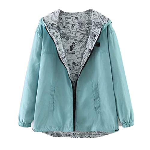 COM1950s Women Tops Casual Solid Color Print Wear Both Long Sleeve Hooded Jacket Coat Windbreaker Top (Sandalwood Height)