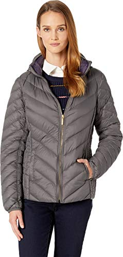 Michael Michael Kors Women's Zip Front Packable with Hidden Hood M823044GKA Rock Grey Small - Puffer Front Zip