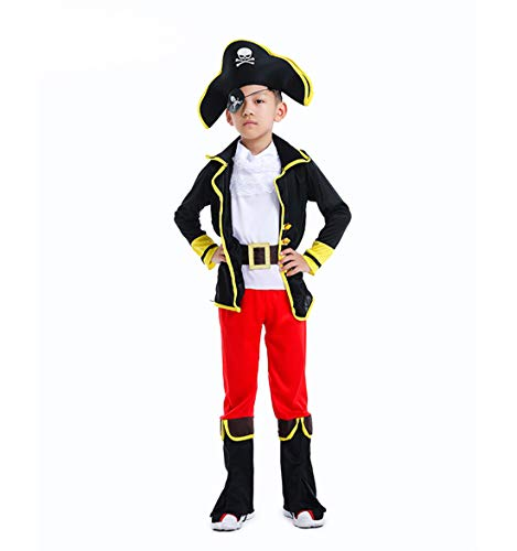 - NSPSTT Boys Pirate Costume Kids Deluxe Costume Set Halloween Buccanner Coat Pants Suit Set Outfit Red