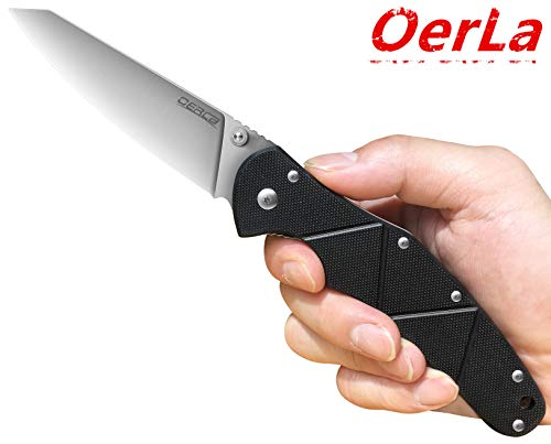 Oerla Everyday Carry Folding Knife 8Cr15Mov Stainless Steel Blade G10 Handle with Pocket Clip