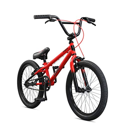 Mongoose Legion LSX Freestyle BMX Bike for Kids, Featuring Hi-Ten Steel Frame and 36x16T BMX Gearing with 20-Inch Wheels, Red